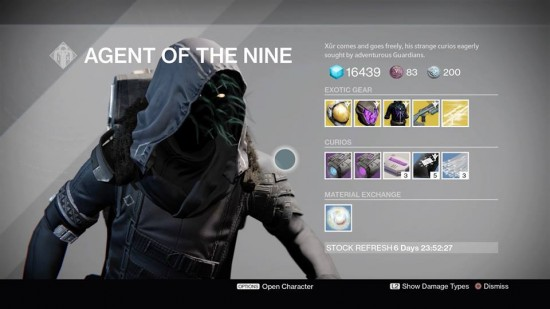 Destiny Xur October 30 - November1