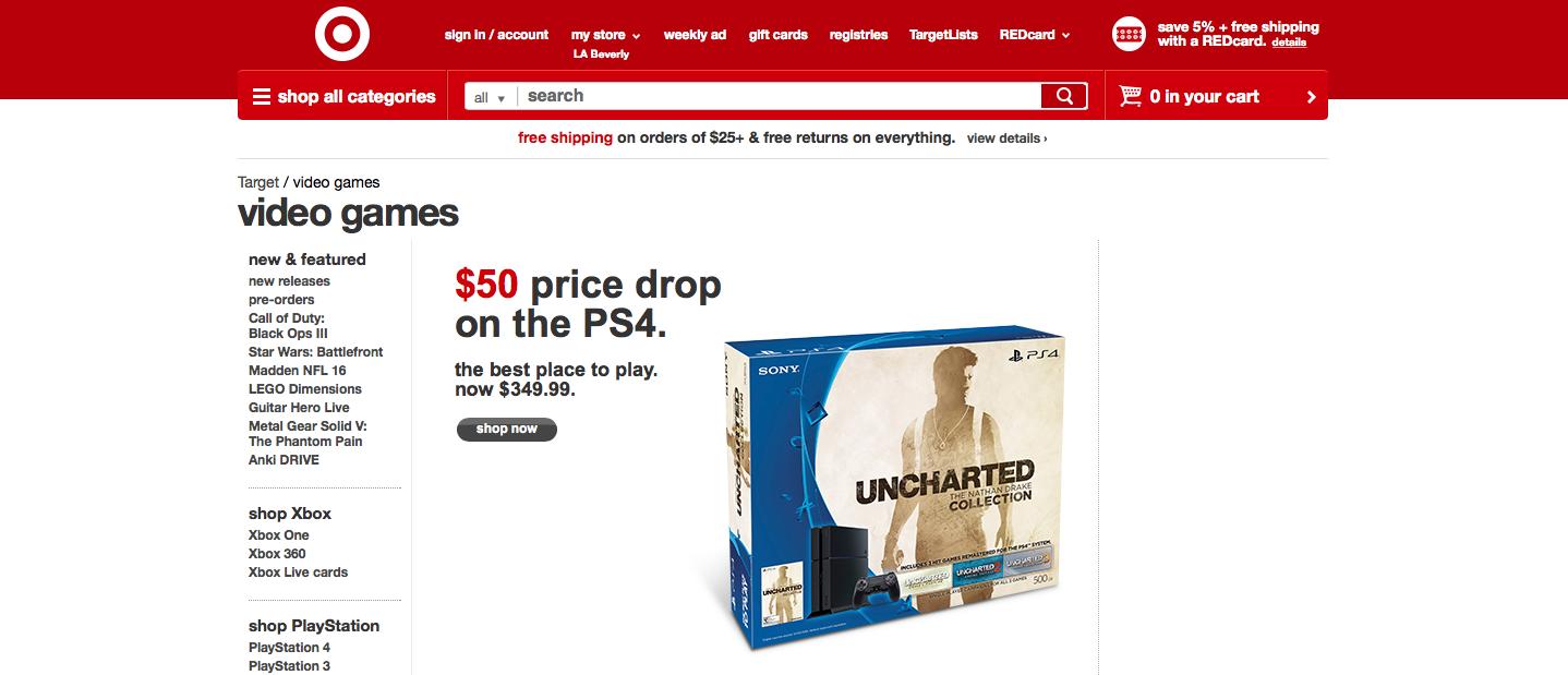 target ps4 price drop