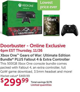 xbox one black friday bundle sale deal fallout 4 gears of war dell leak ad