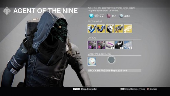Xur Destiny October 16-18 TTK The Taken King Exotics List and Location