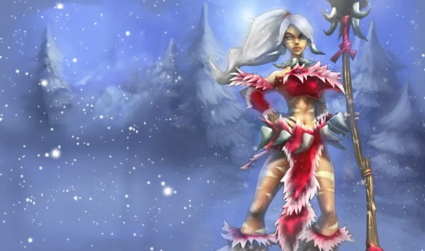 snow bunny nidalee league of legends slowdown showdown winter skin splash