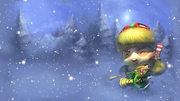 Happy Elf Teemo league of legends slowdown showdown winter skin splash