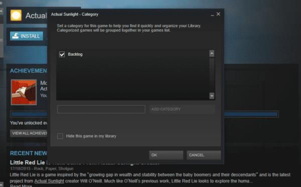 Steam categories, backlogs