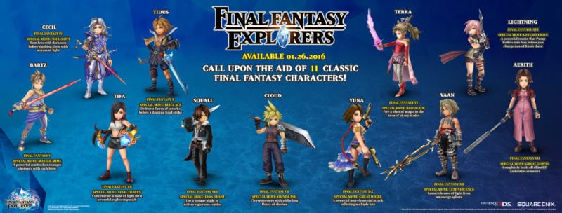 Final Fantasy Explorers, legacy characters, Cloud, Lightning, Squall