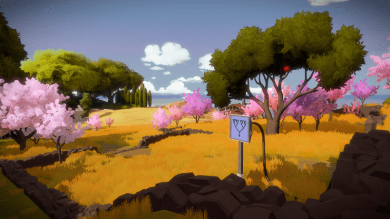 the witness pink trees