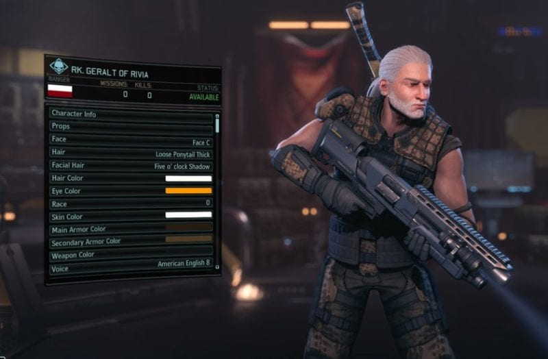XCOM 2, character creation, Geralt, The Witcher
