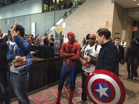 Even Spider-Man has to wait on line.
