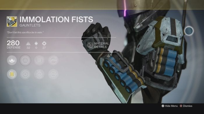 destiny immolation fists