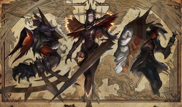Iron Inquisitor Kayle, Cursed Revenant Nocturne, and Black Scourge Singed league of legends splash art skins
