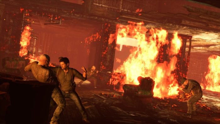 Uncharted 3 Set Piece Burning Chateau