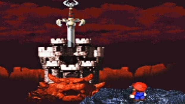 Mario goes on an epic RPG adventure on the SNES, brings along Bowser but no Luigi.