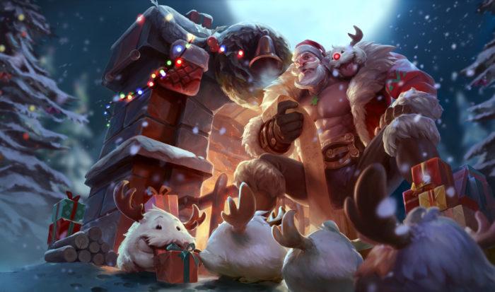 Santa Braum league of legends snowdown holiday christmas skins 2016