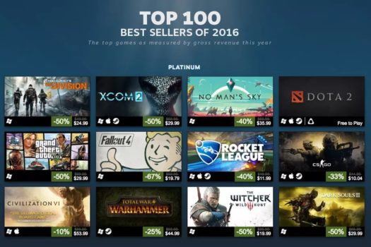 Steam Best Sellers 2016