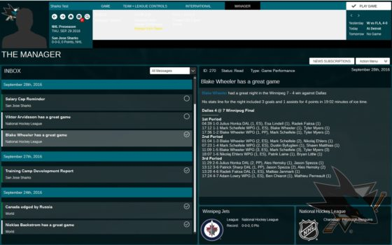 Franchise Hockey Manager 3 White Menu