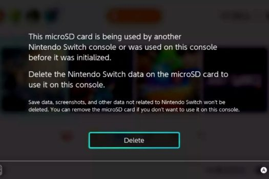 SD Cards With Existing Switch Data Must be Wiped for Use on Another