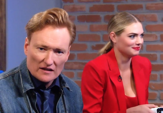Conan O'Brien Plays Cuphead with Model Kate Upton