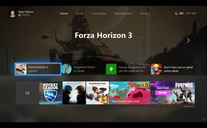 Latest Xbox One UI