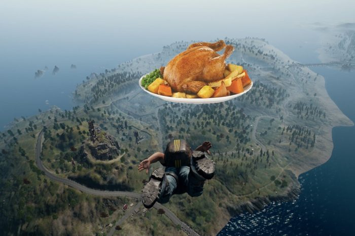 PUBG Sky-diving towards a chicken dinner.