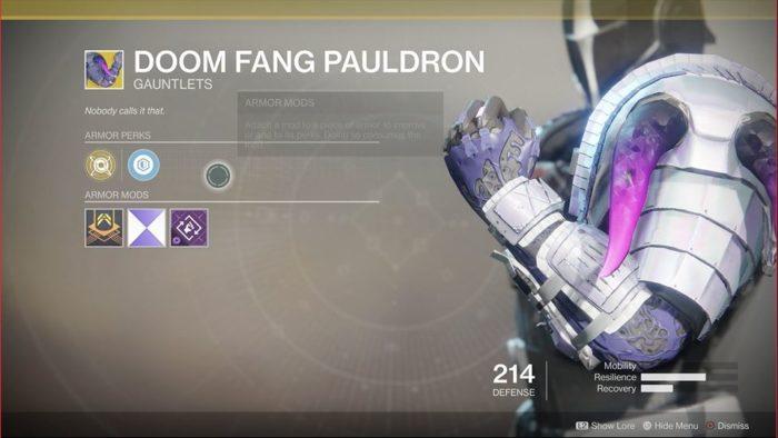 Destiny 2 Doom Fang Pauldrons