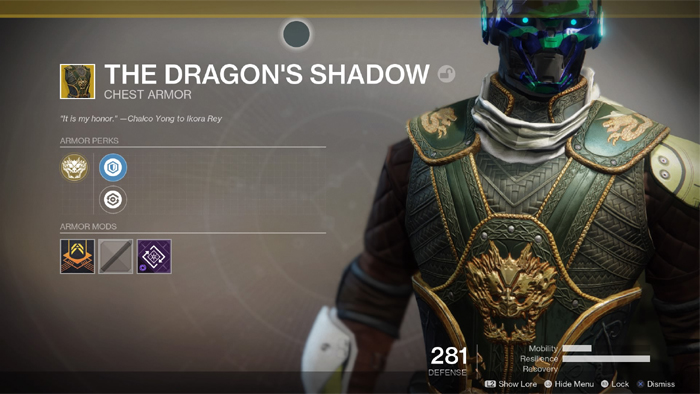 Destiny 2 Dragons Shadow Exotic Hunter Chest Armor