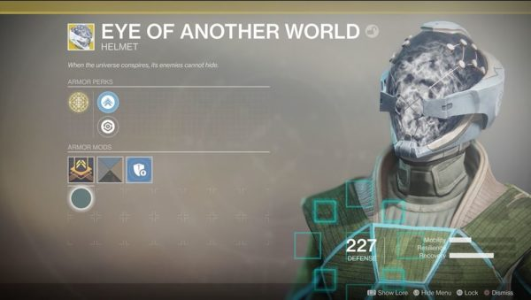 Eye Of Another World Helmet Highlights Priority Enemies Usually The One Whos Hitting You Most And Increases Charge Rate Abilities