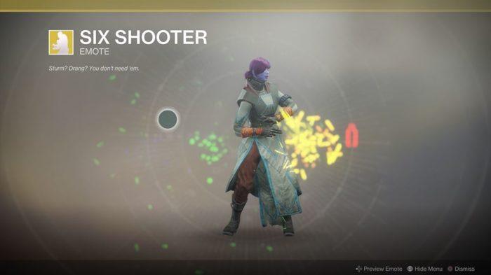 Destiny 2 Six Shooter Emote