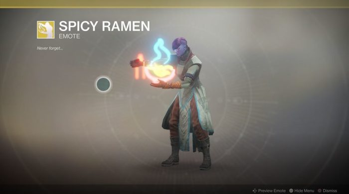 Destiny 2 Spicey Ramen Emote