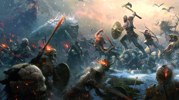 A Stunning Stylized Wallpaper Showcasing Kratos And Atreus In Battle