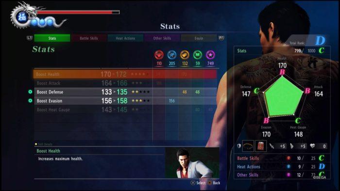 yakuza 6 stats