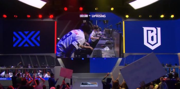 New York Excelsior Teammates congratulating each other after winning Map One against Boston Uprising in the Overwatch League Stage 3 Finals