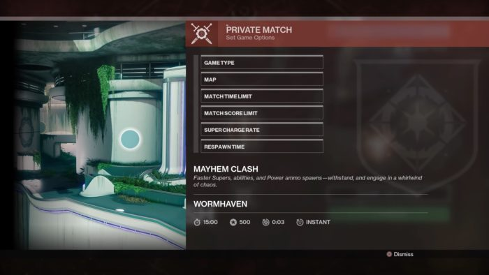 Private Match Options Screen