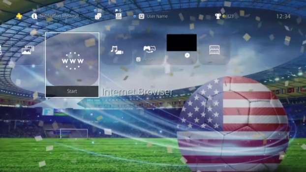 USA Flag Ambiance of Soccer Ball Stadium Dynamic Theme