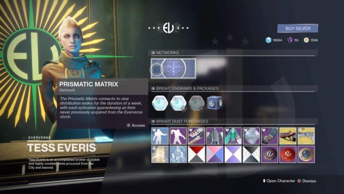 Destiny 2's Prismatic Matrix at Eververse