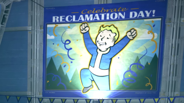 "Fallout 76: A banner hanging in Vault 76 that reads ""Celebrate Reclamation Day"" with a celebrating Vault Boy."