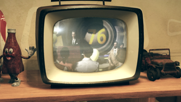 Fallout 76: A TV showing Vault 76 during a press conference
