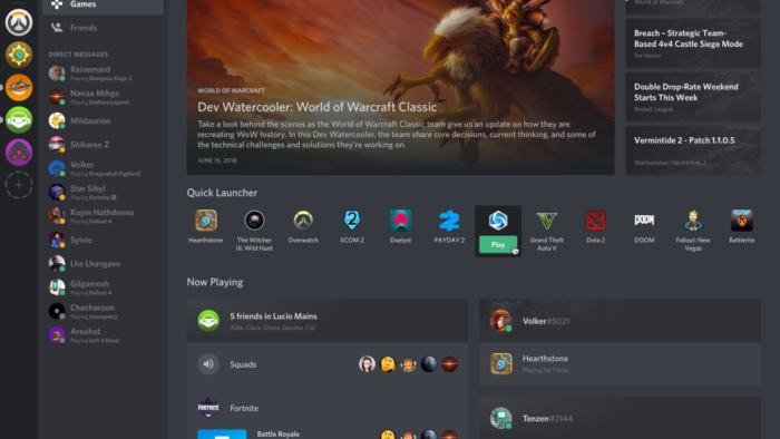 A Stock image of Discord's Games Tab