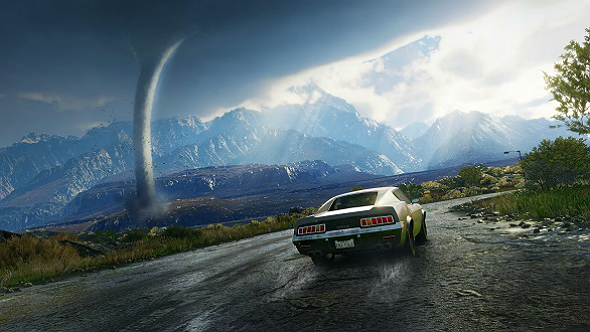 Just Cause 4 Screenshot, showing Rico driving towards a Tornado.