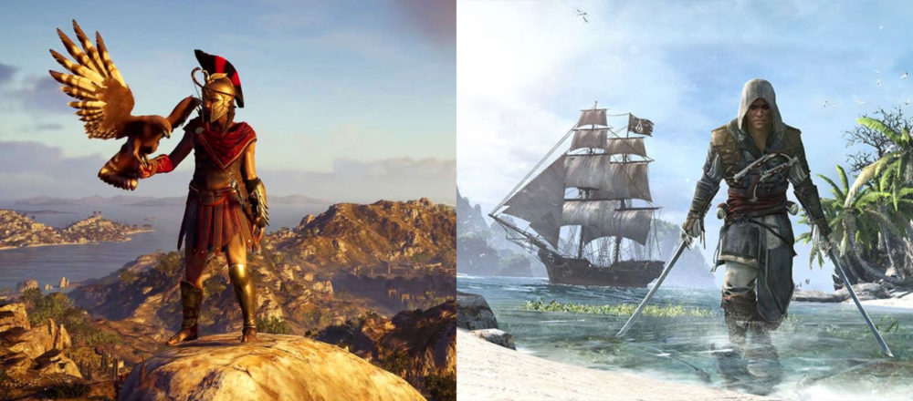 odyssey, black flag, map, open world, size, measured