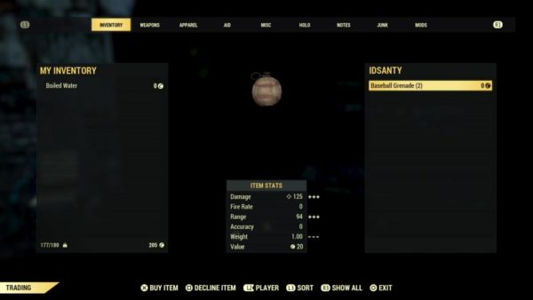 fallout 76, trade with other players