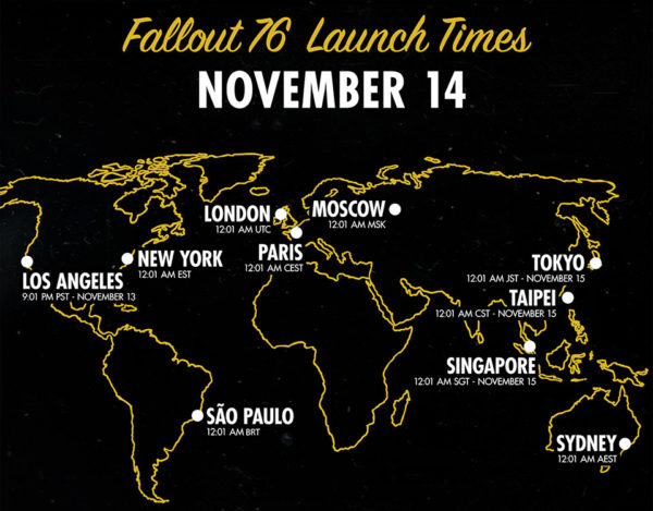 Fallout 76 Global Launch Times November 14