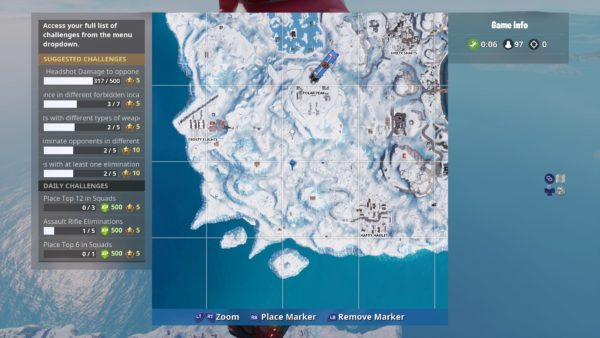 Fortnite: Where To Search Between Three Ski Lodges Location