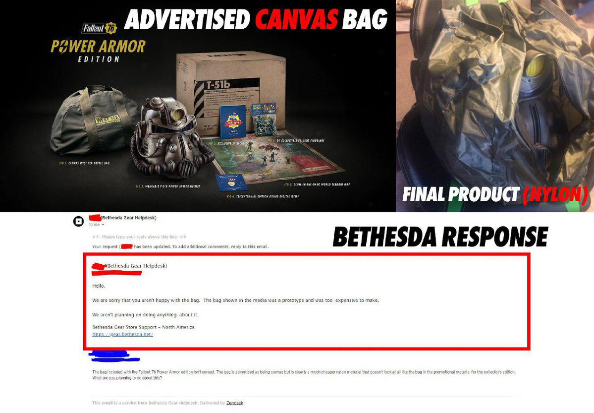 Fallout 76, Collectors Edition, Reddit post, Nylon Bag, Canvas Bag