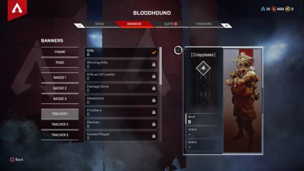 KD tracker in Apex Legends