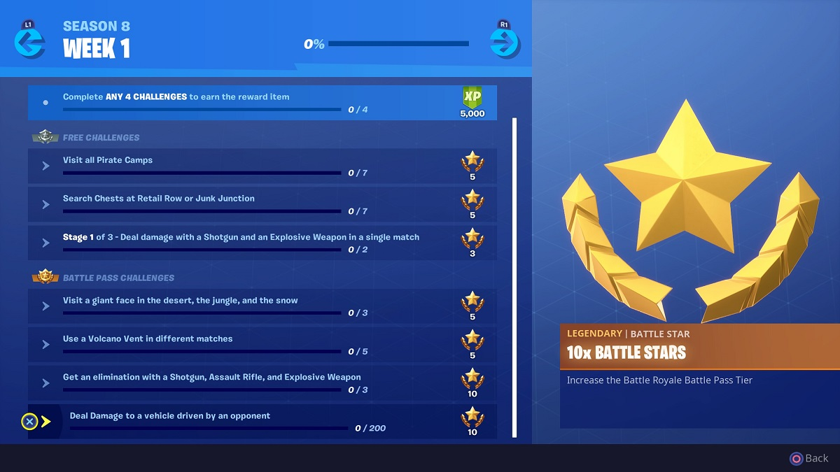 Fortnite, Season 8, Week 1 Challenges, Battle Royale, Epic Games