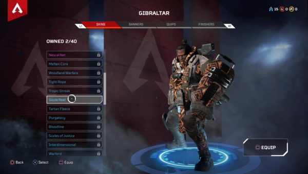 how to equip skins in apex legends