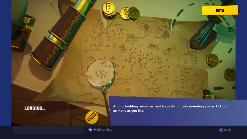 Search where the magnifying glass sits at the Treasure Map loading screen Fortnite