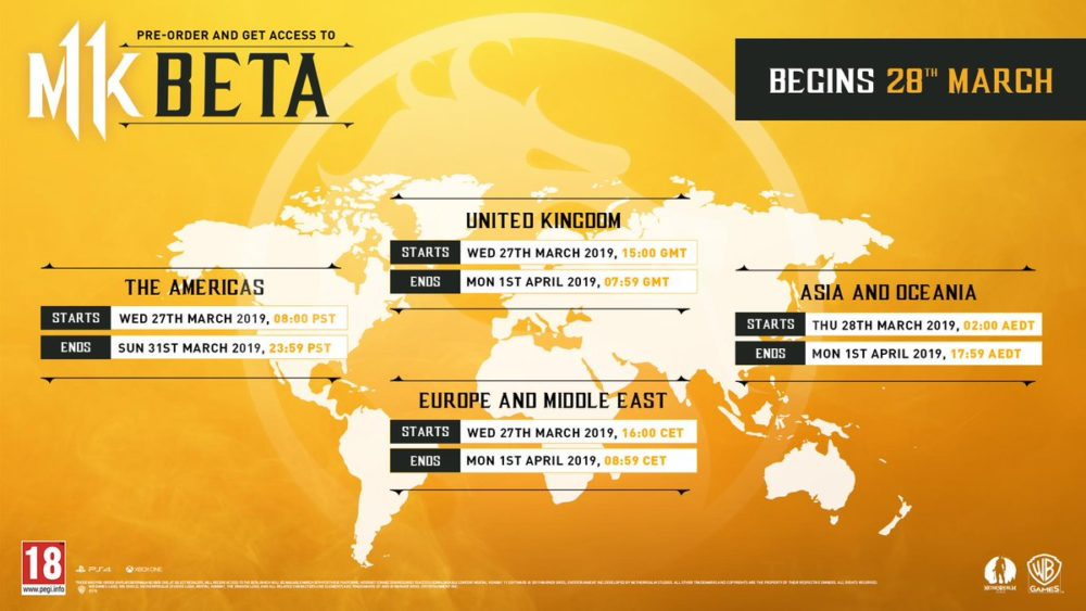 mortal kombat 11 beta times and dates