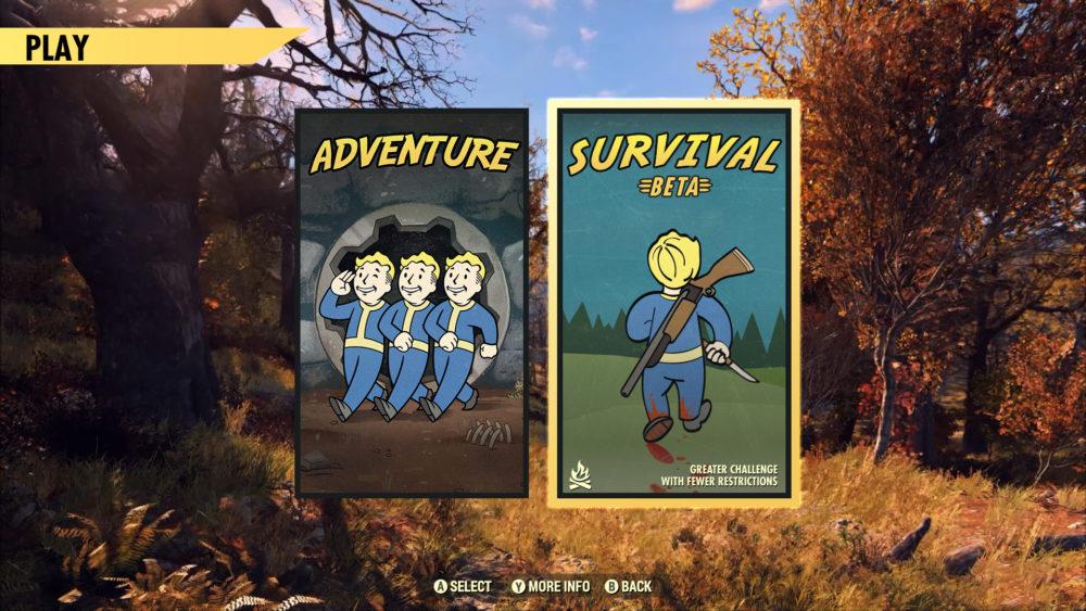 Fallout 76 survival mode menu