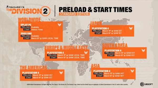 the division 2 early access times