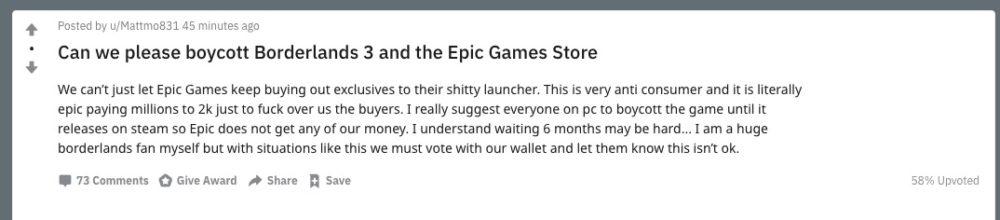 borderlands 3, epic games store